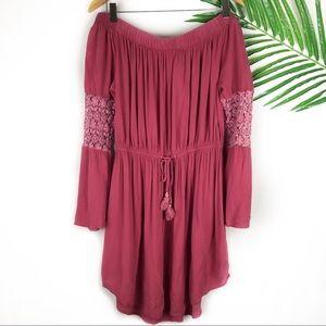 Hint Of Blush Pink Off the Shoulder Dress Large